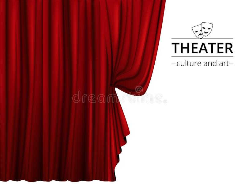 Red stage curtains. luxury red velvet drapes, silk drapery. realistic  closed theatrical cinema curtain. waiting for show,