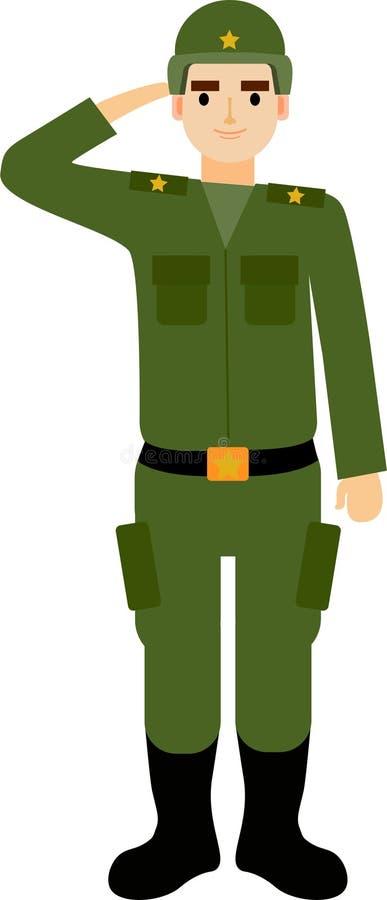 Русский солдат салютует России иллюстрация штока