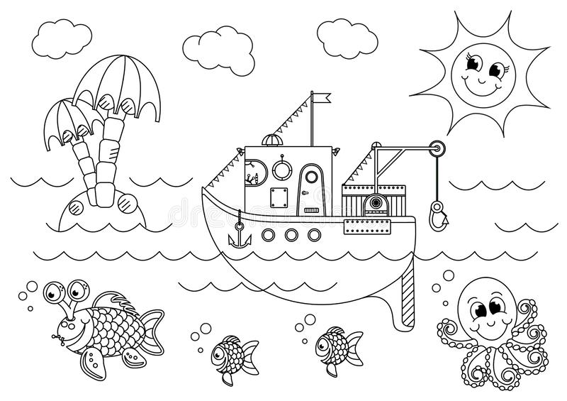 Рыбацкая лодка плавая в море с рыбами и осьминогом иллюстрация штока