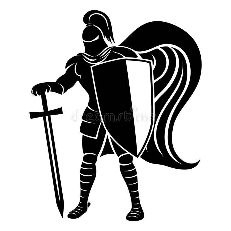 Рыцарь со знаком шпаги иллюстрация штока