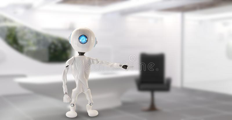 Робот в офисе указывает на что-то 3D-Illustration бесплатная иллюстрация