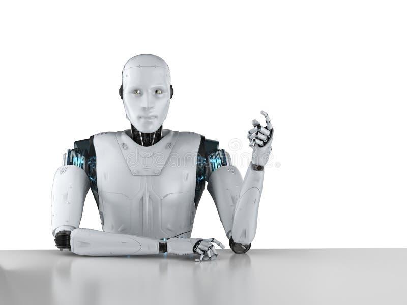 Робот сидит за таблицей бесплатная иллюстрация