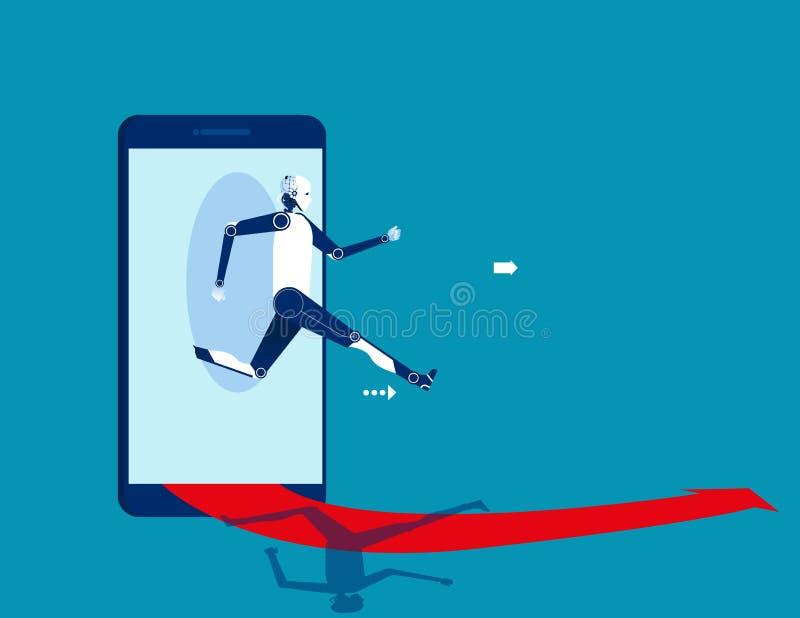 Робот скача из умного телефона Дело концепции начиная онлайн иллюстрацию вектора иллюстрация штока