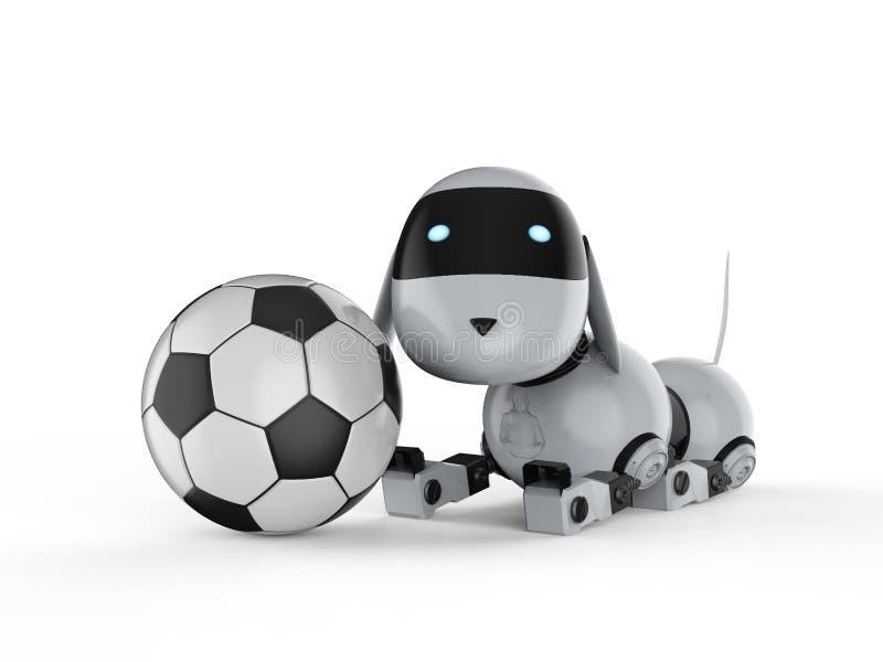 Робот собаки с шариком футбола иллюстрация вектора
