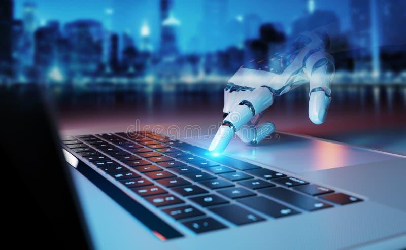 Робототехнический отжимать руки клавиатура на переводе ноутбука 3D иллюстрация штока