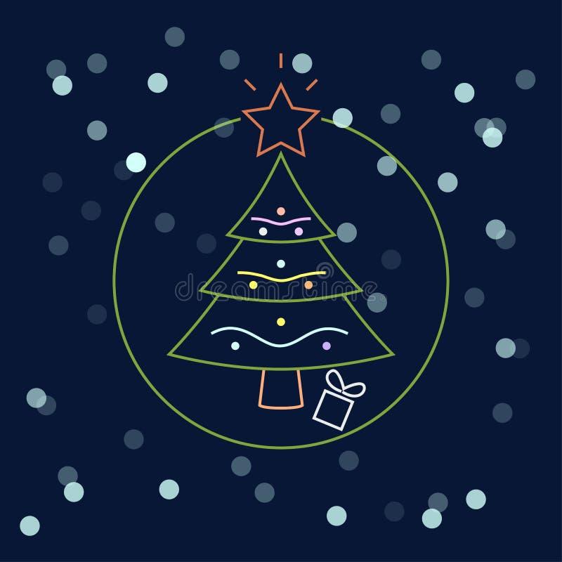 Рождественская елка с шариком, гирляндой изолированной на темной предпосылке Веселый xmas, счастливая концепция Нового Года Дизай иллюстрация штока