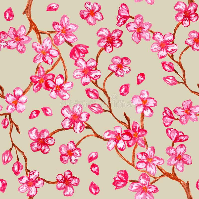 Розовая картина акварели цветения яблока - безшовная картина с цветками на бежевой предпосылке иллюстрация вектора