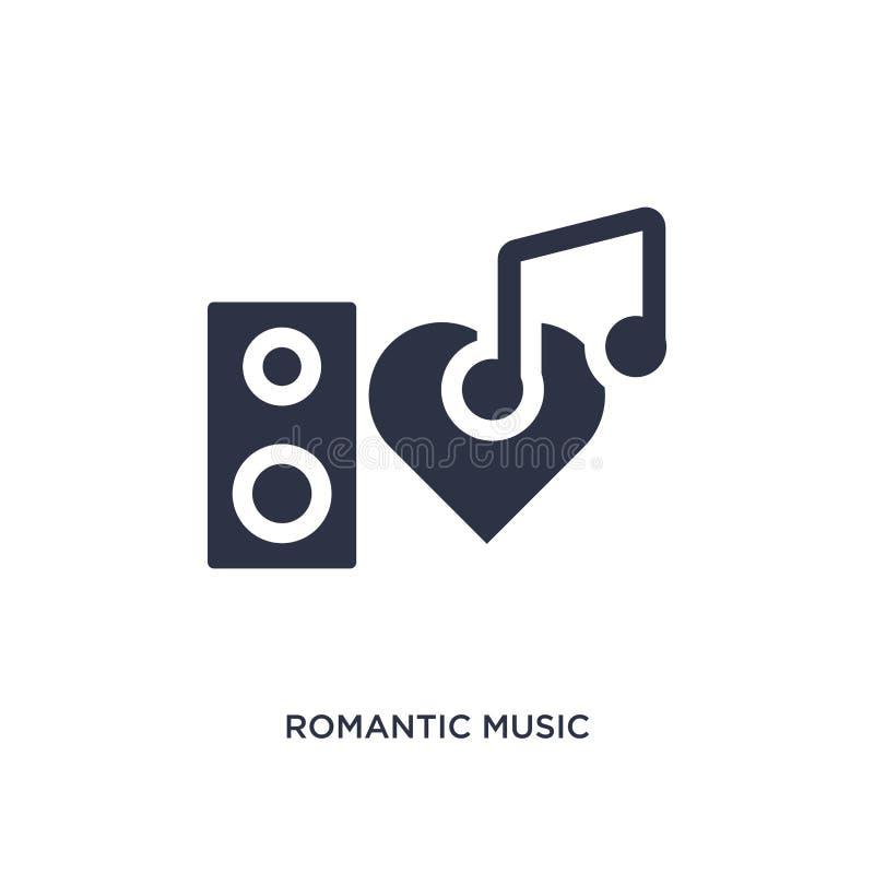 романтичный значок музыки на белой предпосылке Простая иллюстрация элемента от концепции дискотеки иллюстрация штока