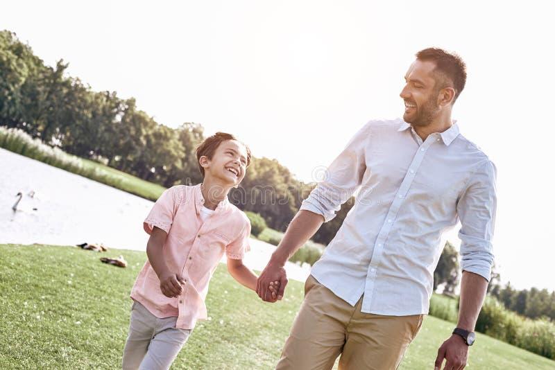 Родитель-одиночка, отец и сын идя на травянистое удерживание поля стоковое фото rf