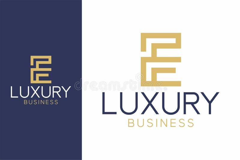 Роскошный стиль логотипа e современный стоковые фотографии rf
