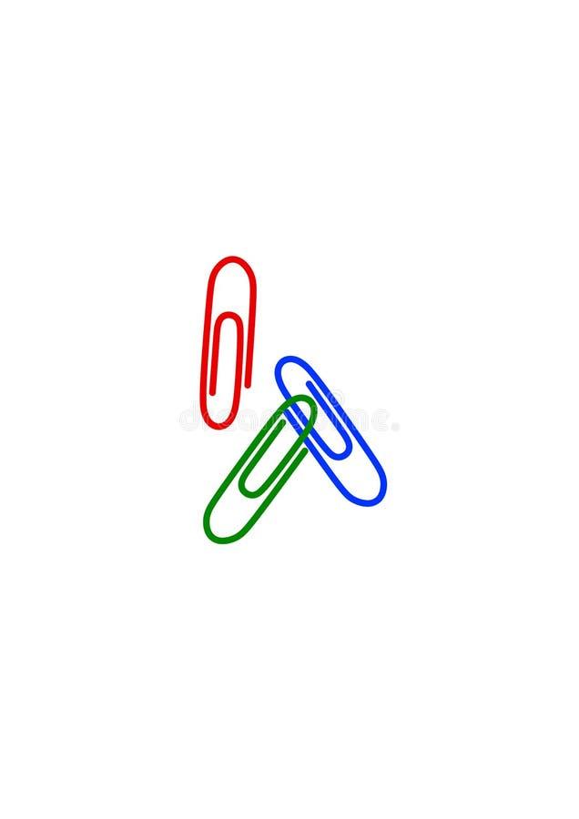 Ñ  olored paperclippen - de punten van de bureaukantoorbehoeften stock illustratie
