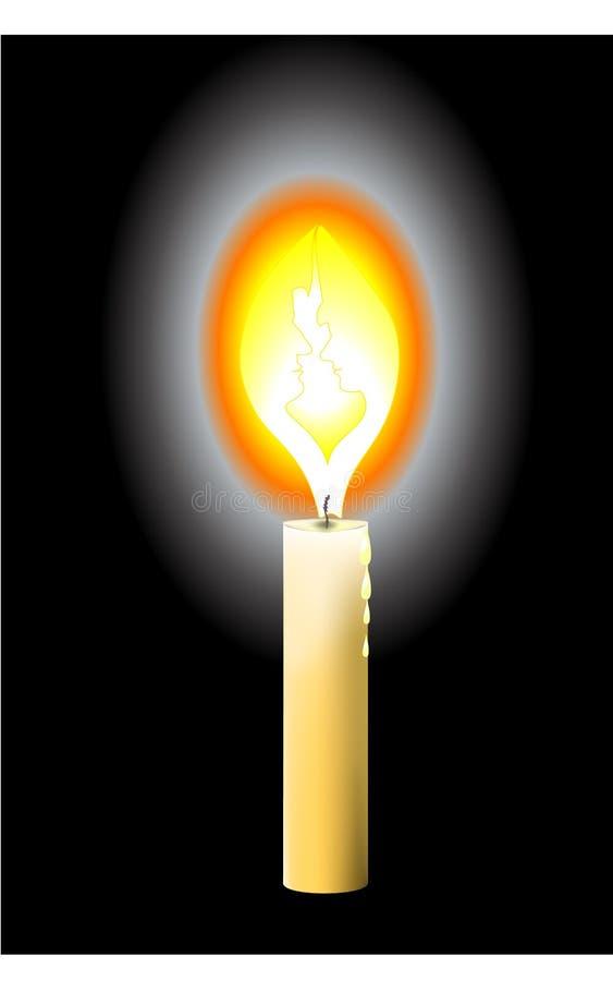Ñ- andle Flammen der Liebe stockbilder