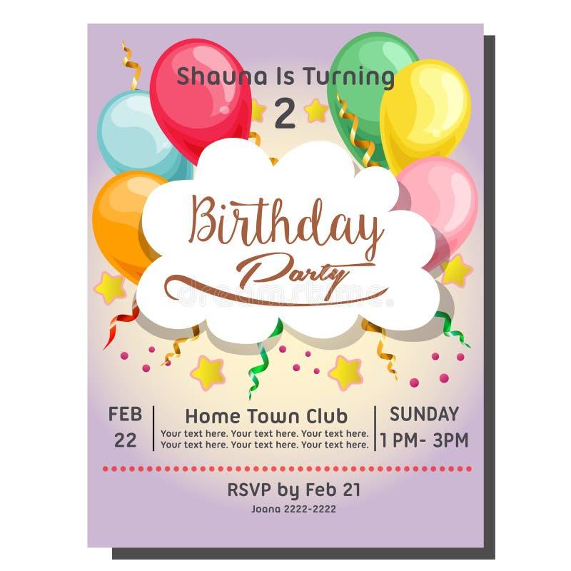ò cartão do convite da festa de anos com queque da baga ilustração do vetor