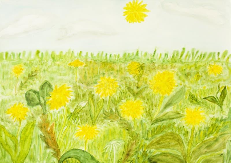 Żółci dandelions, maluje royalty ilustracja