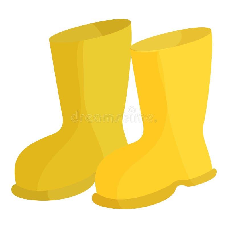 Żółci gumowi buty ikona, kreskówka styl ilustracji