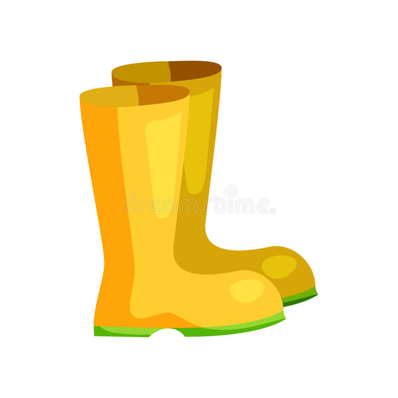 Żółci gumowi buty ikona, kreskówka styl royalty ilustracja