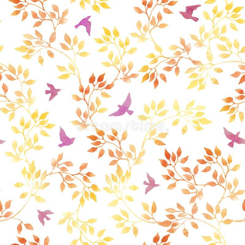 Żółci liście, śliczni ptaki Rocznik akwareli jesieni bezszwowy wzór w naiwnym projekcie royalty ilustracja