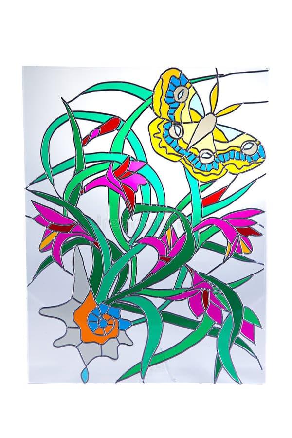 Żółci motyla i czerwieni kwiaty - witraż zdjęcie stock