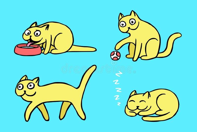 Żółci pussycat emoticons ustawiający również zwrócić corel ilustracji wektora ilustracji