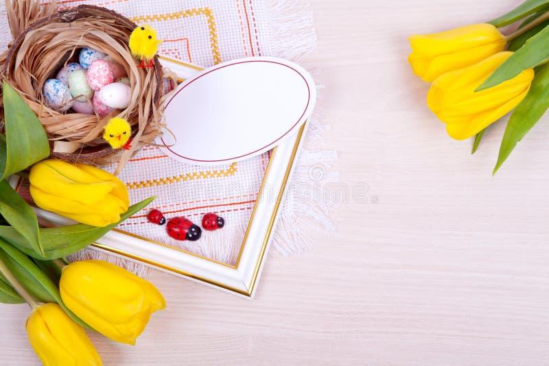 Żółci tulipany Wielkanoc obraz stock