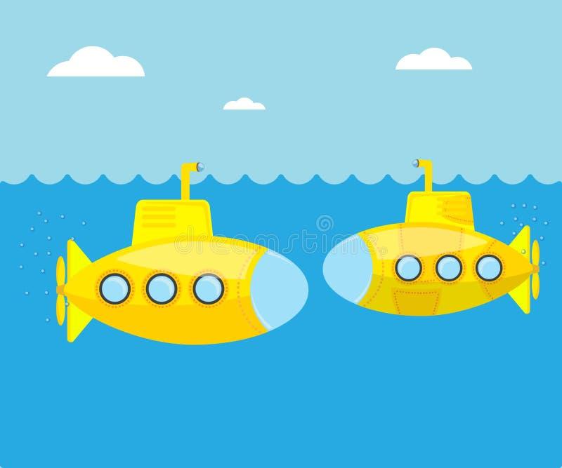 Żółta łódź podwodna w błękitnym morzu royalty ilustracja