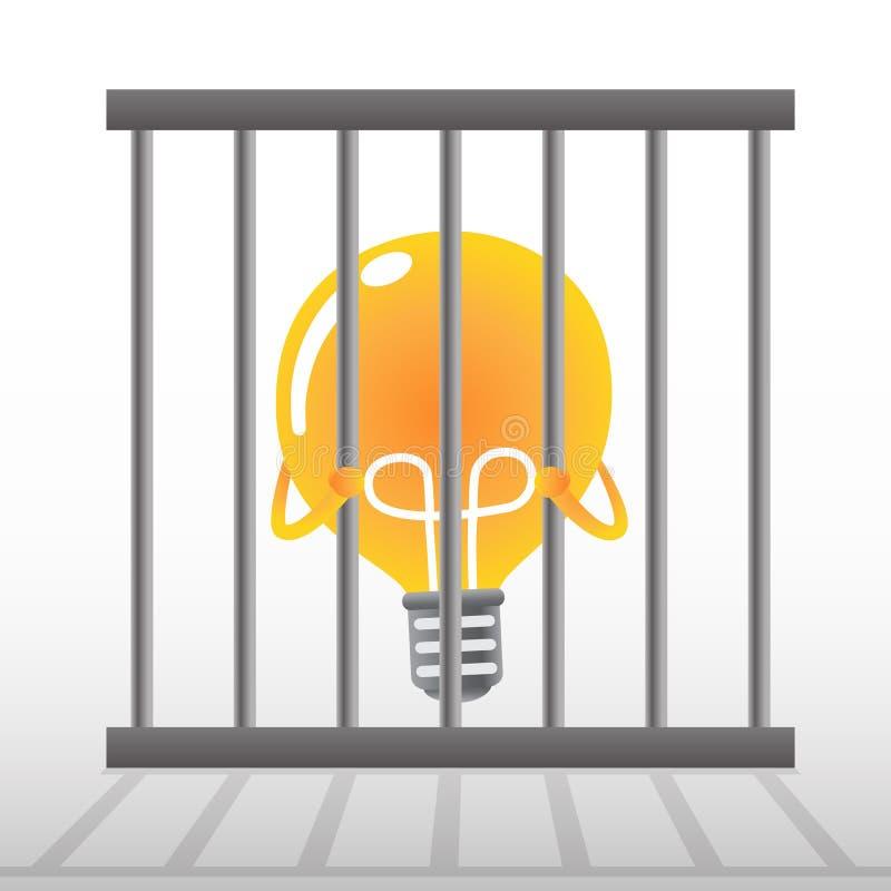 Żółta żarówka w klatce royalty ilustracja
