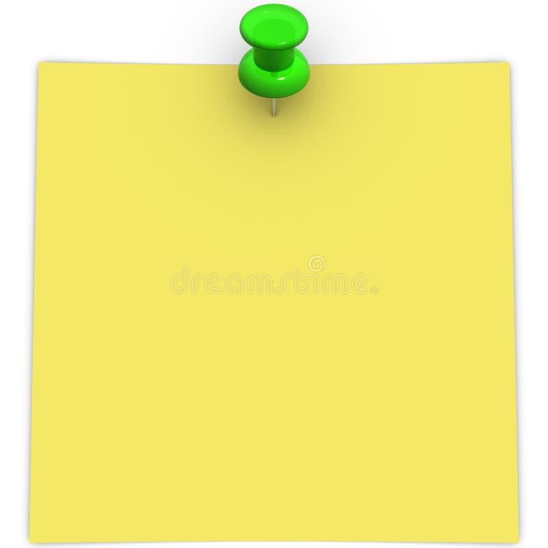 Żółta adhezyjna notatka z zielonym thumbtack zdjęcia royalty free