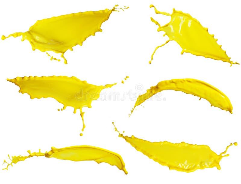 Żółta ciekła pluśnięcie kolekcja obrazy stock