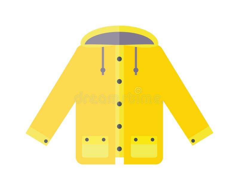 Żółta deszczowiec pogody kurtki kreskówki wektoru ilustracja ilustracja wektor
