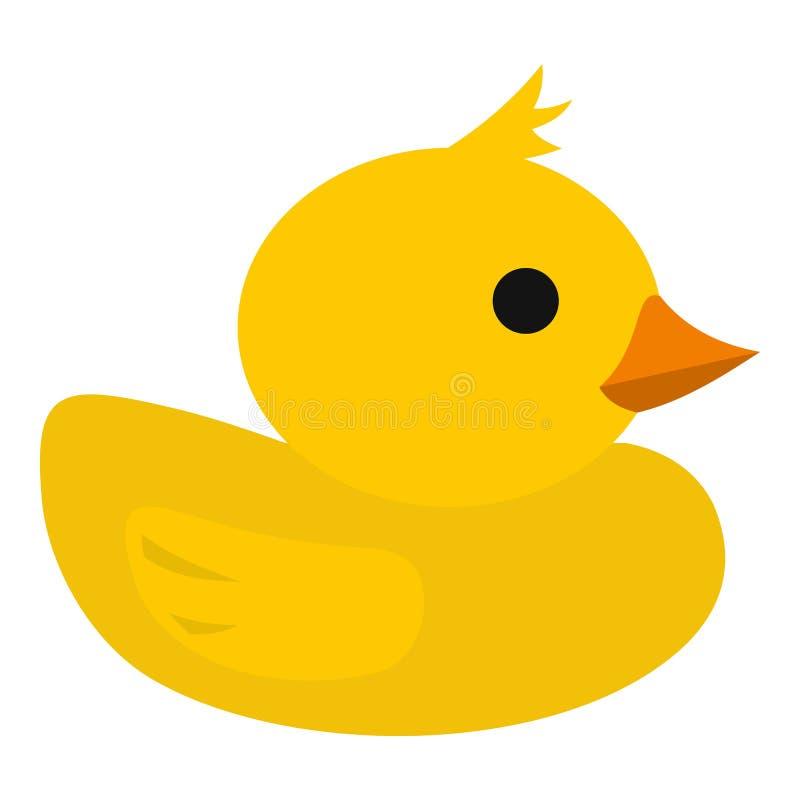 Żółta gumowa kaczki ikona, mieszkanie styl ilustracja wektor