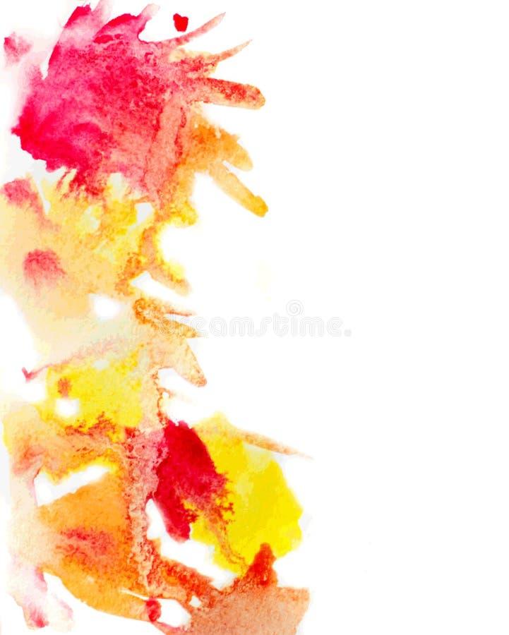 Żółta i czerwona akwarela plami tło ilustracji