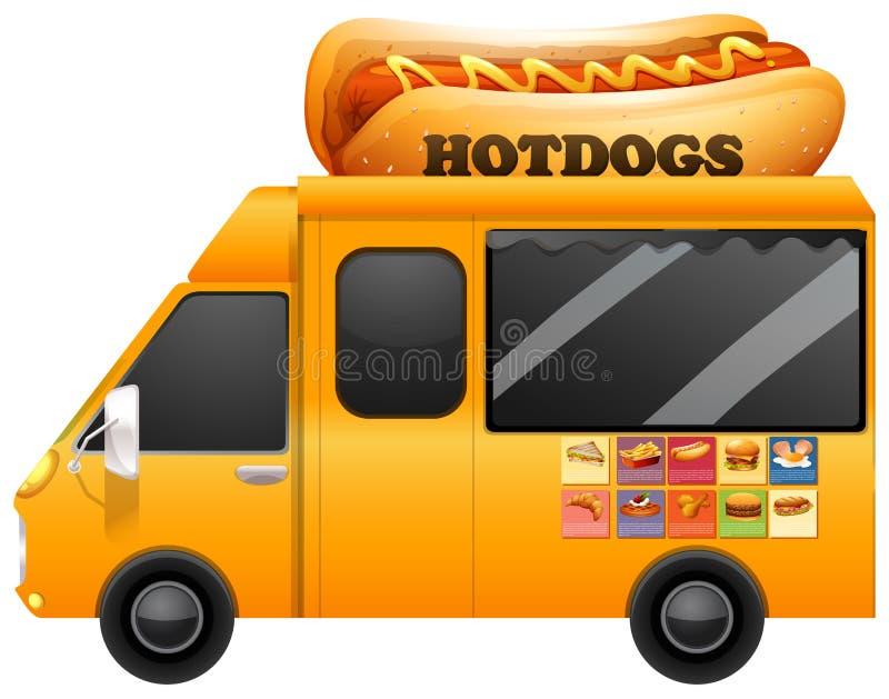 Żółta jedzenie ciężarówka z gigantycznymi hotdogs royalty ilustracja