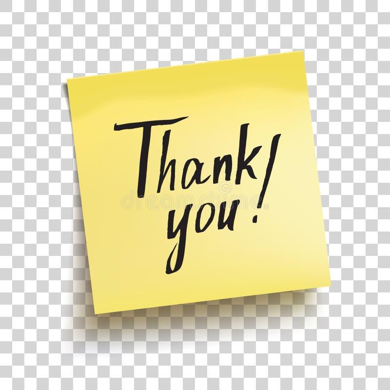 Żółta kleista notatka z teksta ` Dziękuje ciebie! ` wektor ilustracja wektor