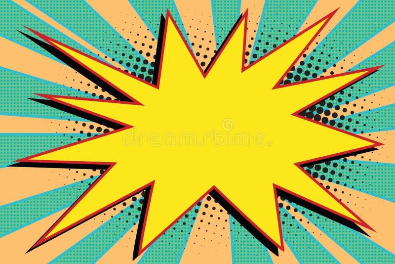 Żółta komiczna wybuchu wybuchu wystrzału sztuka ilustracji