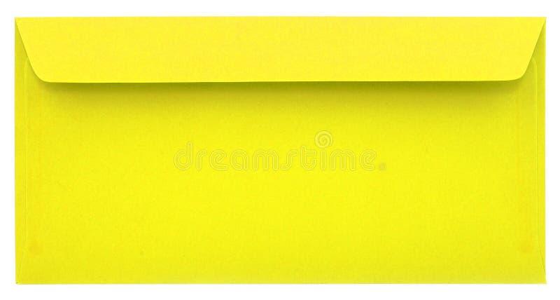 Żółta koperta odizolowywająca fotografia royalty free