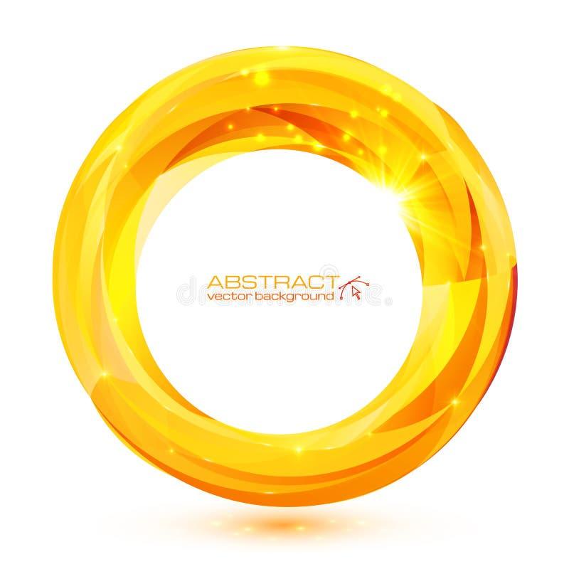 Żółta krystaliczna abstrakcjonistyczna wektorowa round rama ilustracji