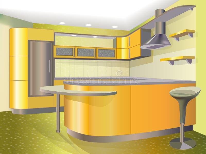 Żółta kuchnia ilustracji
