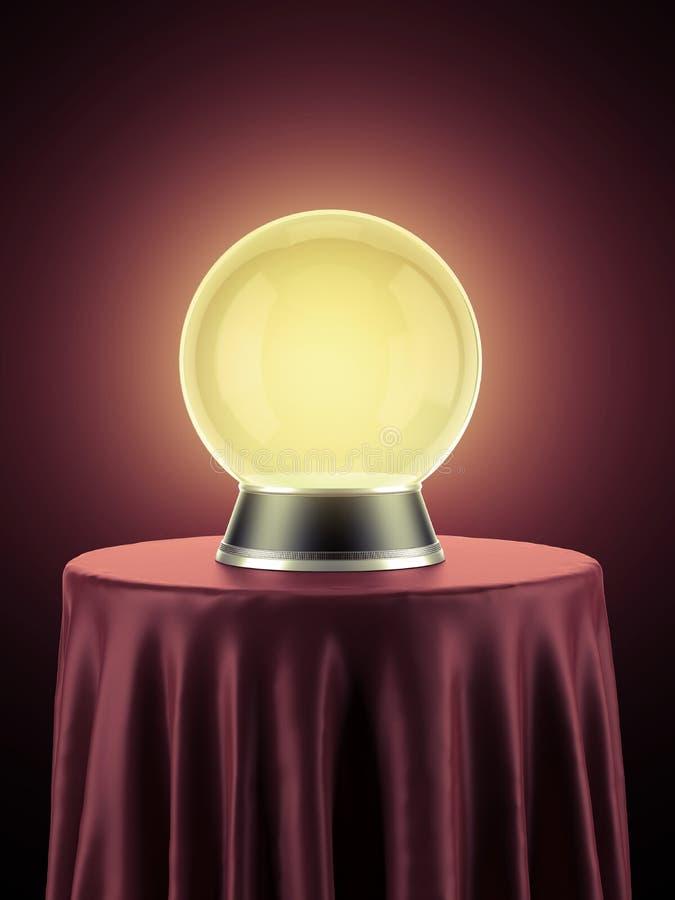 Żółta magiczna kula ziemska na stole zakrywającym z czerwonym płótnem royalty ilustracja