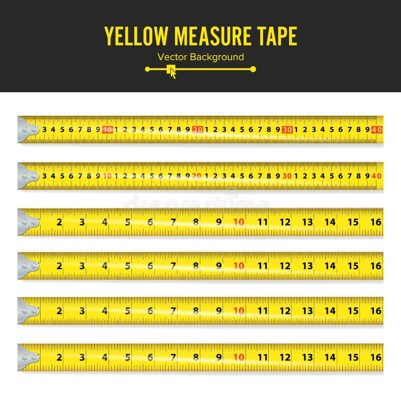 Żółta miara taśma wektoru Miara Narzędziowego wyposażenia W calach Kilka warianty, Procentowy Ważący ilustracji