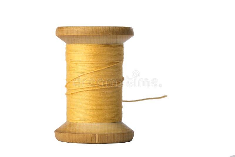 Żółta niciana cewa odizolowywająca na białym tle zdjęcie royalty free