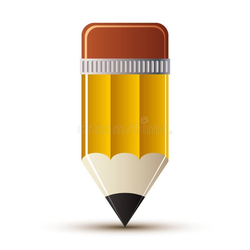 Żółta ołówkowa ikona royalty ilustracja