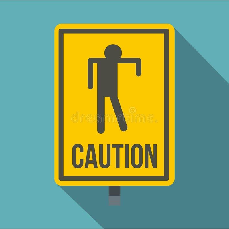 Żółta ostrożność żywego trupu znaka ikona, mieszkanie styl ilustracja wektor