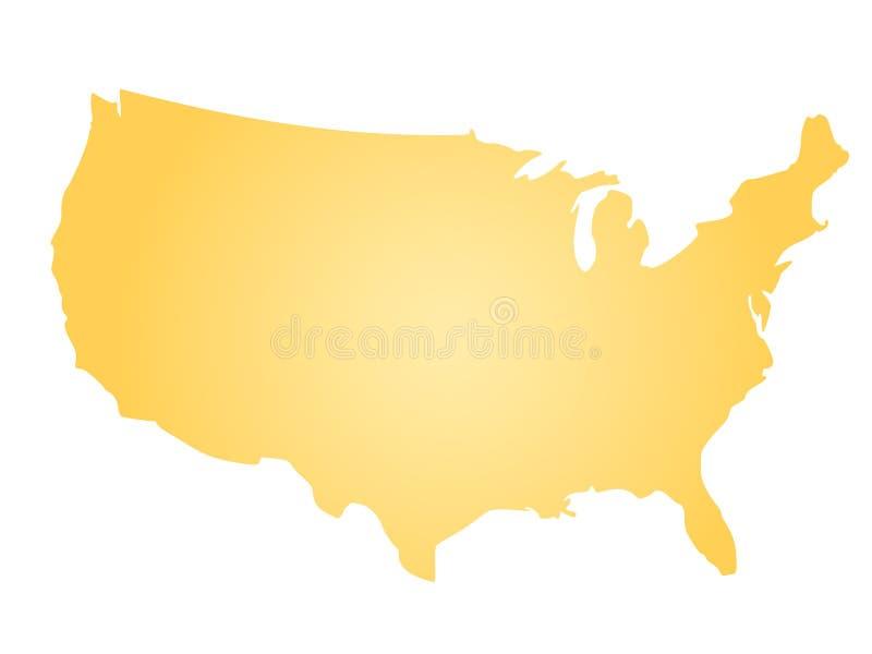 Żółta promieniowa gradientowa sylwetki mapa Stany Zjednoczone Ameryka, aka usa, również zwrócić corel ilustracji wektora royalty ilustracja