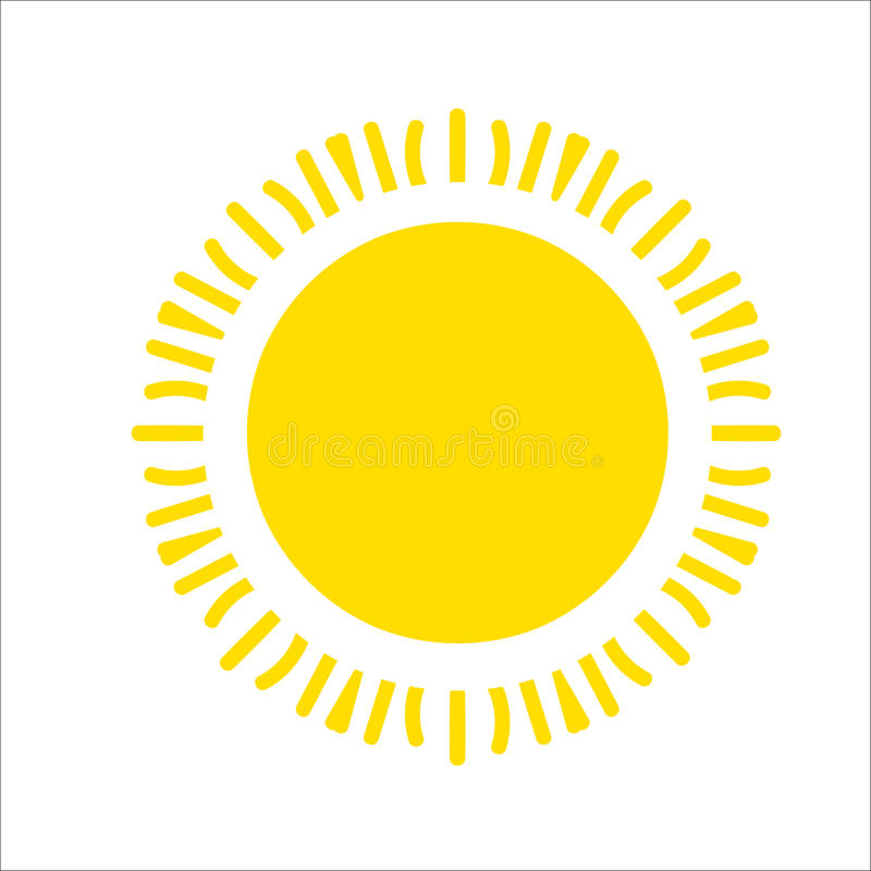 Żółta słońce ikona odizolowywająca na białym tle Płaski światło słoneczne, znak Wektorowy lato symbol dla strona internetowa proj ilustracji