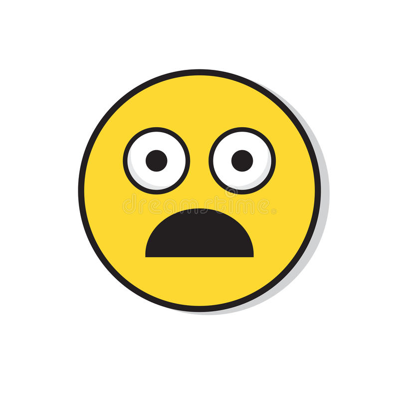 Żółta Smutna twarz Szokujący Negatywni ludzie emoci ikony ilustracji