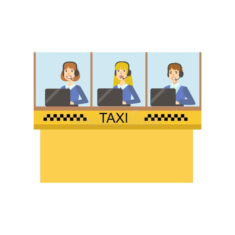 Żółta Szklana kabina Dla taxi usługa centrum telefonicznego Z Trzy operatorów Pracować ilustracji