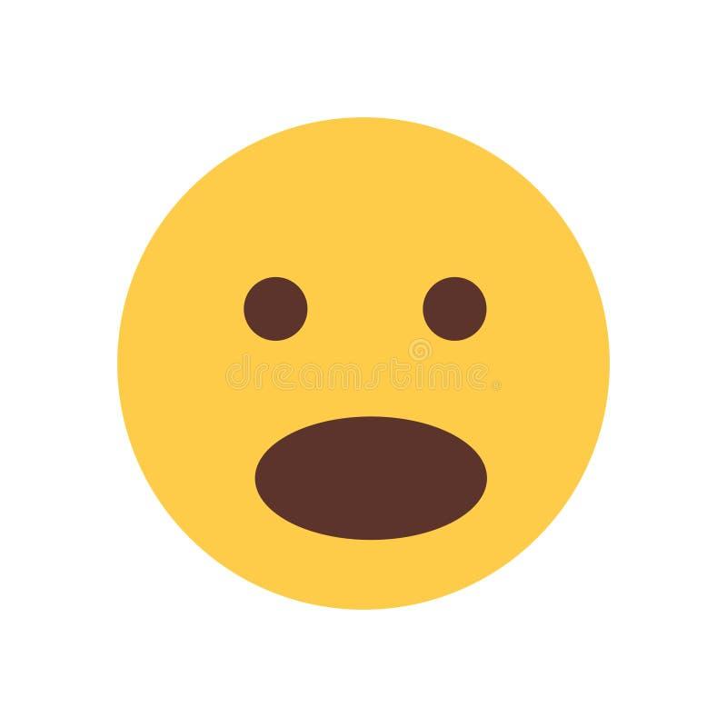 Żółta twarz Szokujący kreskówki Emoji emoci ikony ludzie royalty ilustracja