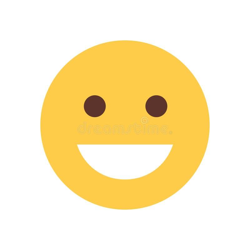 Żółta Uśmiechnięta kreskówki twarz Śmia się Emoji emoci ikony ludzi royalty ilustracja