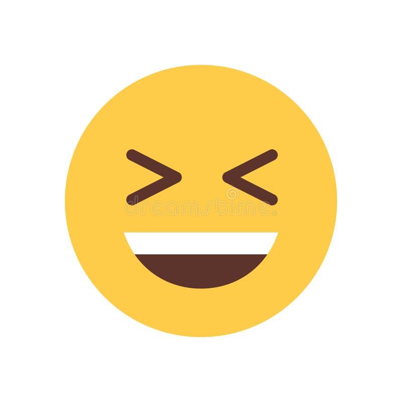 Żółta Uśmiechnięta kreskówki twarz Śmia się Emoji emoci ikony ludzi ilustracja wektor