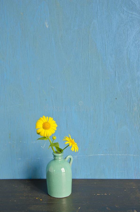 Żółta wiosna kwitnie w małej wazie zdjęcia royalty free